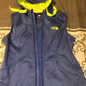 The North Face vest blue with neon yellow green